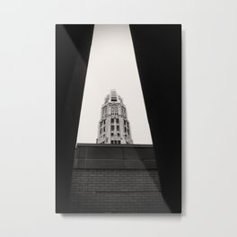 Mather Tower Building Top Chicago Black and White Photo Metal Print