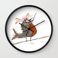 birdy Wall Clocks featuring Birdy by Tim Cornwall