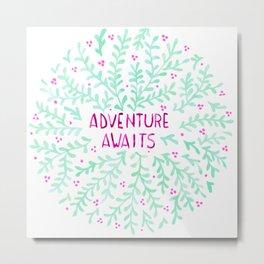 Adventure Awaits - Mint & Purple Metal Print