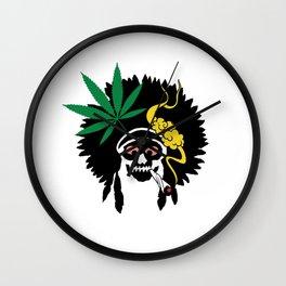 Indian Skull Marijuana Joint Wall Clock