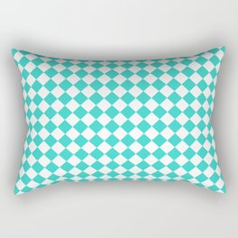 Small Diamonds - White and Turquoise Rectangular Pillow