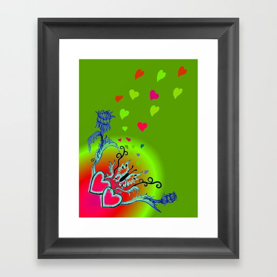 Heart with Butterfly and Flowers Framed Art Print