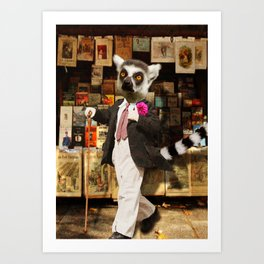 Monsieur Lemur thought that the boutonnière put a spring in his step and a waggle in his cane. Art Print