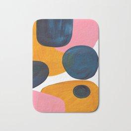 Mid Century Modern Abstract Minimalist Retro Vintage Style Pink Navy Blue Yellow Rollie Pollie Ollie Bath Mat