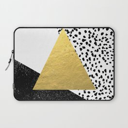 Erida - abstract black and white gold triangle painted dots minimalist decor nursery dorm college ar Laptop Sleeve