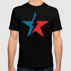 Bowie Star white Black MEDIUM Mens Fitted Tee