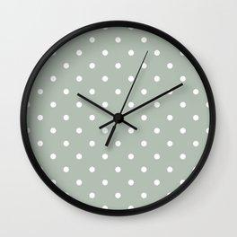 Polka Dots Pattern: Neutral Green Wall Clock