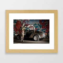 Mandalorian Delorean 3 - Bobba Fett, Bounty Hunter Framed Art Print