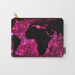 Pink Sparkle World Map Carry-All Pouch