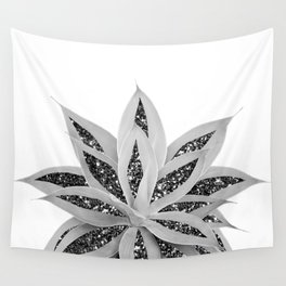 Gray Agave with Black Silver Glitter #1 #shiny #tropical #decor #art #society6 Wall Tapestry