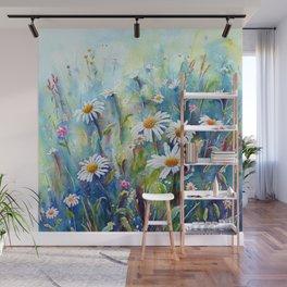 Watercolor Daisy Field Wall Mural