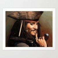 jack sparrow Art Prints featuring Jack Sparrow by Hernán Castellano