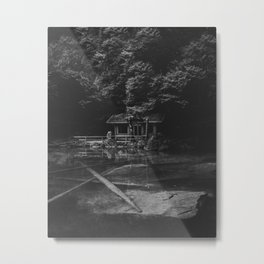 Cottage (Black and White) Metal Print