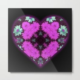 Mandala Flower Love Heart Metal Print