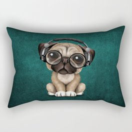 Cute Pug Puppy Dj Wearing Headphones and Glasses on Blue Rectangular Pillow