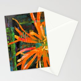 Electric Floral Burst in Tangerine Stationery Cards