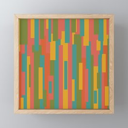 Festiva Mid Mod Geometric Pattern in Coral Pink, Teal Blue, Mustard, Orange, and Olive Green Framed Mini Art Print