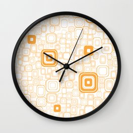 Orange Funky Retro Square Pattern Wall Clock