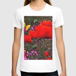 ORANGE ORIENTAL POPPIES & YELLOW BUTTERFLIES T-shirt