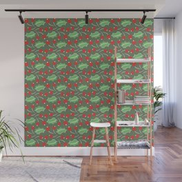 Christmas Pattern with Berries and Leaves Wall Mural