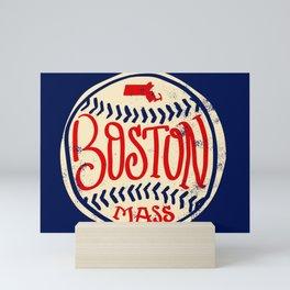Hand Drawn Baseball for Boston with custom Lettering Mini Art Print