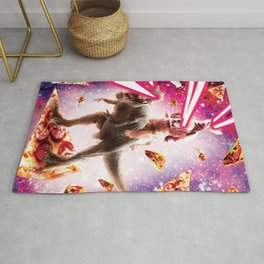 Laser Eyes Space Cat Riding Dog And Dinosaur Rug
