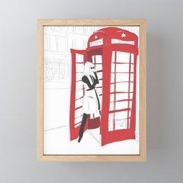 London Calling Fashion Phone Booth Girl Framed Mini Art Print