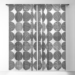 Monochrome Doodle Circles Sheer Curtain