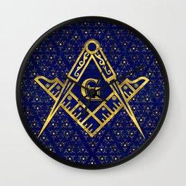 Freemasonry symbol Square and Compasses Wall Clock