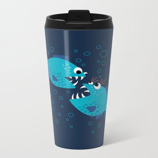 Gossiping Blue Piranha Fish Metal Travel Mug