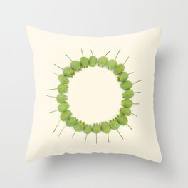 Green Wildflower Circle on Vintage Paper Throw Pillow