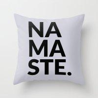 namaste Throw Pillows featuring namaste by Amanda Nicole