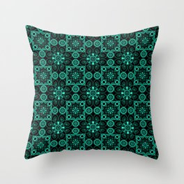 Turquoise and black pattern . Throw Pillow