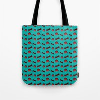fez Tote Bags featuring Red Fez & Bow Tie (on teal green) by Bohemian Bear by Kristi Duggins