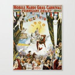 Vintage poster - Mobile Mardi Gras Canvas Print