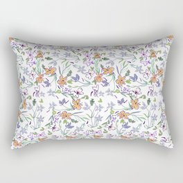 Simple Flowers on White Background Rectangular Pillow
