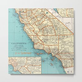 So Cal Surf Map Metal Print