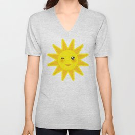funny cartoon yellow sun smiling and winking eyes and pink cheeks, sun on white background Unisex V-Neck