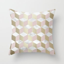 Geometric, Marble, Blush Pink and Gold, Cube 3D Pattern Throw Pillow