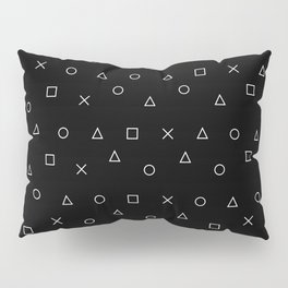 black gaming pattern - gamer design - playstation controller symbols Pillow Sham