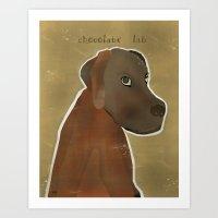 lab Art Prints featuring chocolate lab by bri.buckley