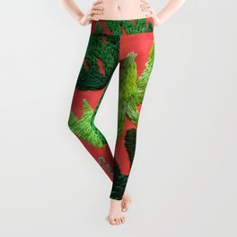 tropical leaves embroidered pattern Leggings