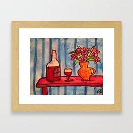 Wine, flowers, striped wallpaper Framed Art Print