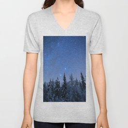 Shimmering Blue Night Sky Stars 2 Unisex V-Neck