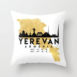 YEREVAN ARMENIA SILHOUETTE SKYLINE MAP ART Throw Pillow