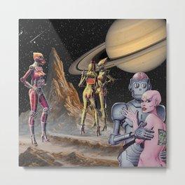 Robot Planet Metal Print