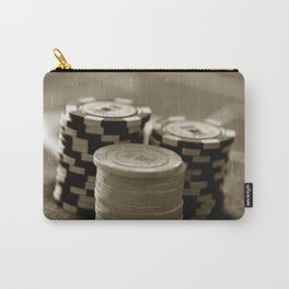 Casino Chips Stacks-B&W Carry-All Pouch
