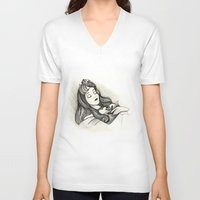 sleeping beauty V-neck T-shirts featuring Sleeping Beauty by Herself