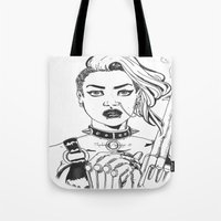 tank girl Tote Bags featuring Tank Girl by Thodoris Mpoutos / Boutos