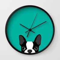 terrier Wall Clocks featuring Boston Terrier by Anne Was Here